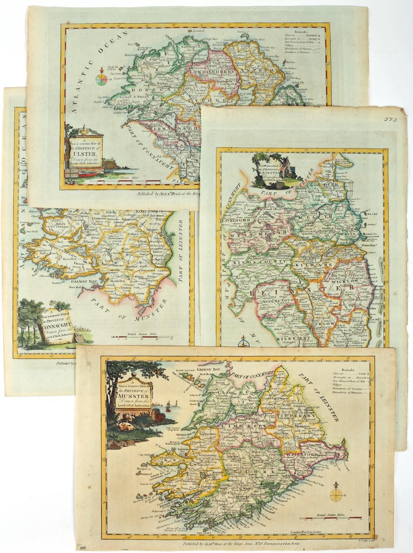 1787 Maps of the four Provinces of Ireland by Alexander Hogg. A set of four hand-coloured,