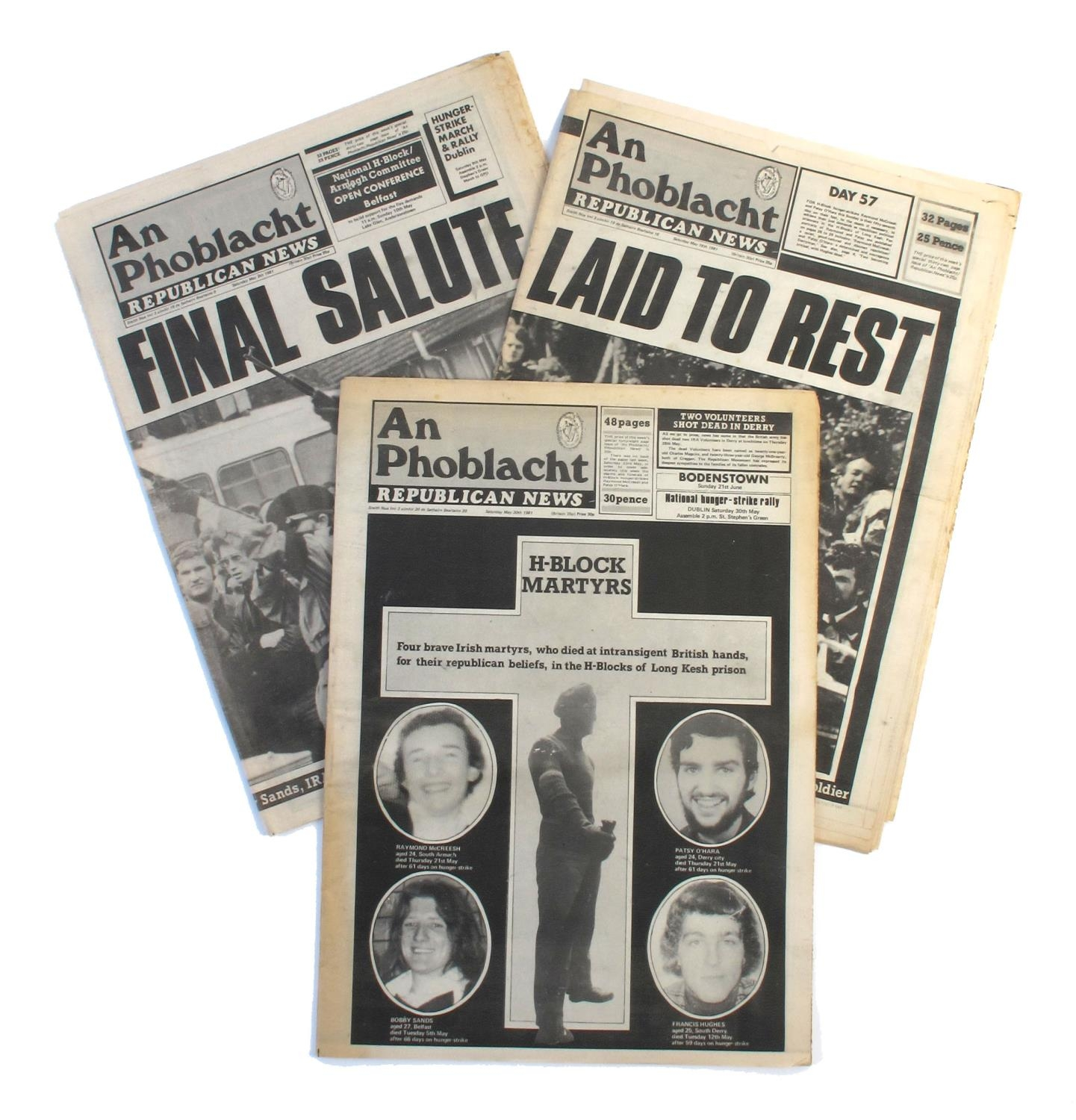 An Phoblacht / Republican News. 1981, three issues, 9th, 16th & 30th May. Reporting on the deaths