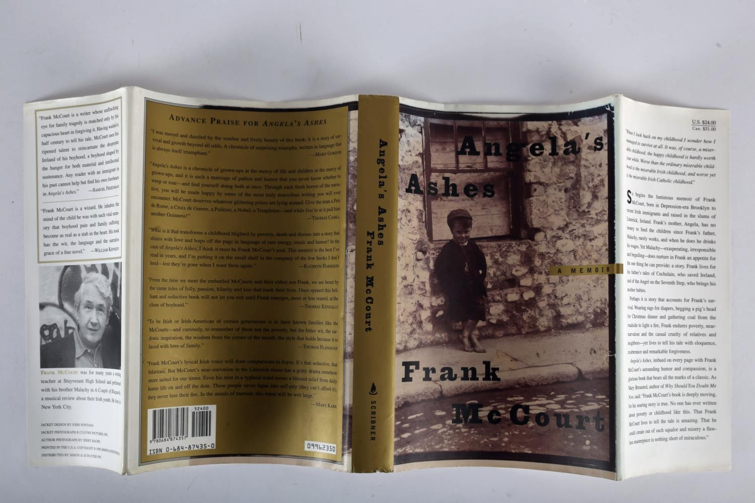McCourt, Frank. Angela's Ashes. Scribner, New York. 1996, first edition, 8vo. red cloth gilt and - Image 4 of 4