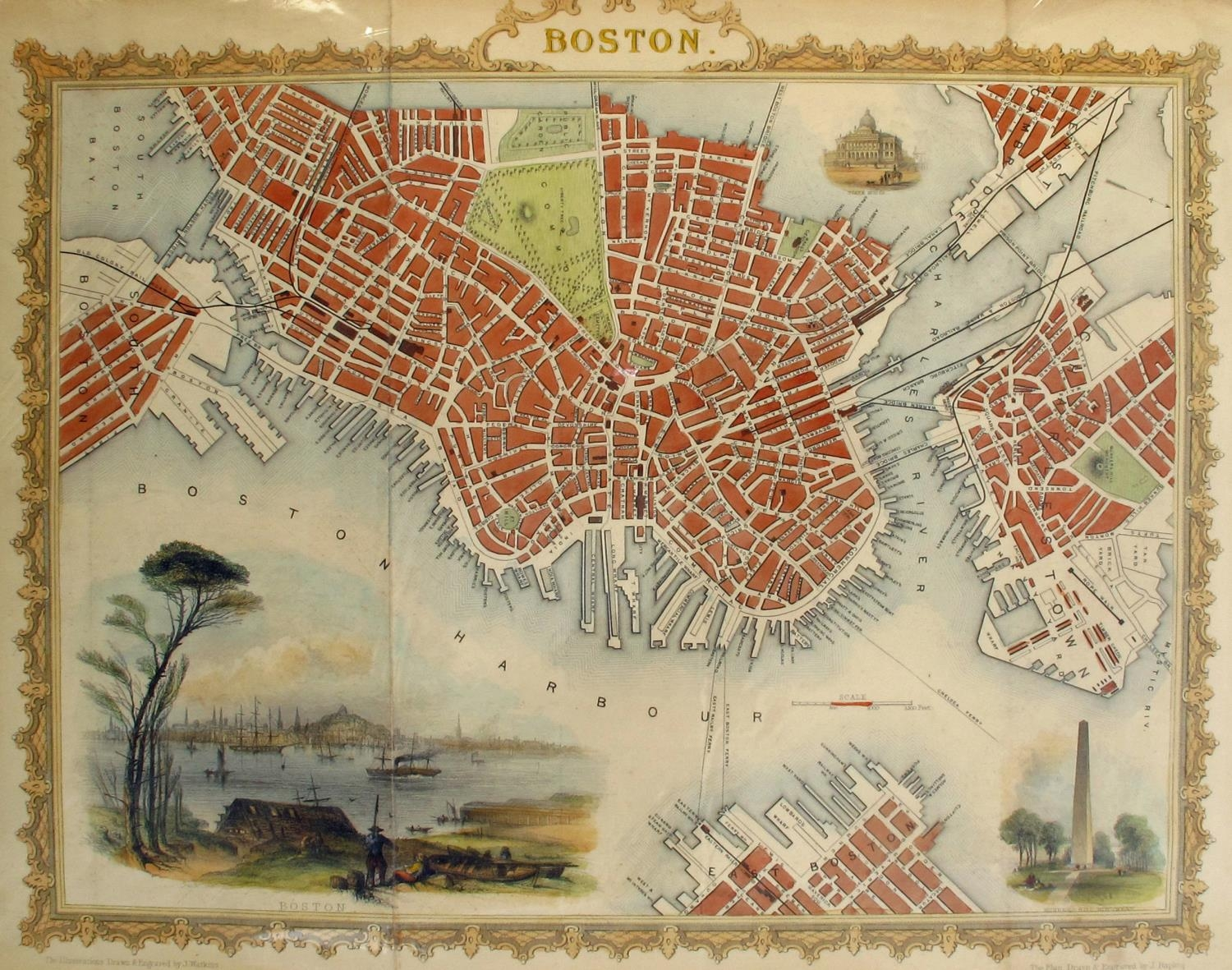 1850 & 1860 Plans of Boston New York, A hand-coloured engraved city plan of Boston, with three