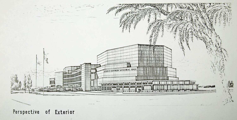 "John F Kennedy Memorial Hall Dublin, Raymond McGrath Architect, 1969, prospectus. 9½"" x 14½"" (24 x - Image 2 of 2"