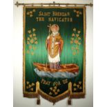 An early 20th century processional banner venerating St. Brendan the Navigator. A green silk