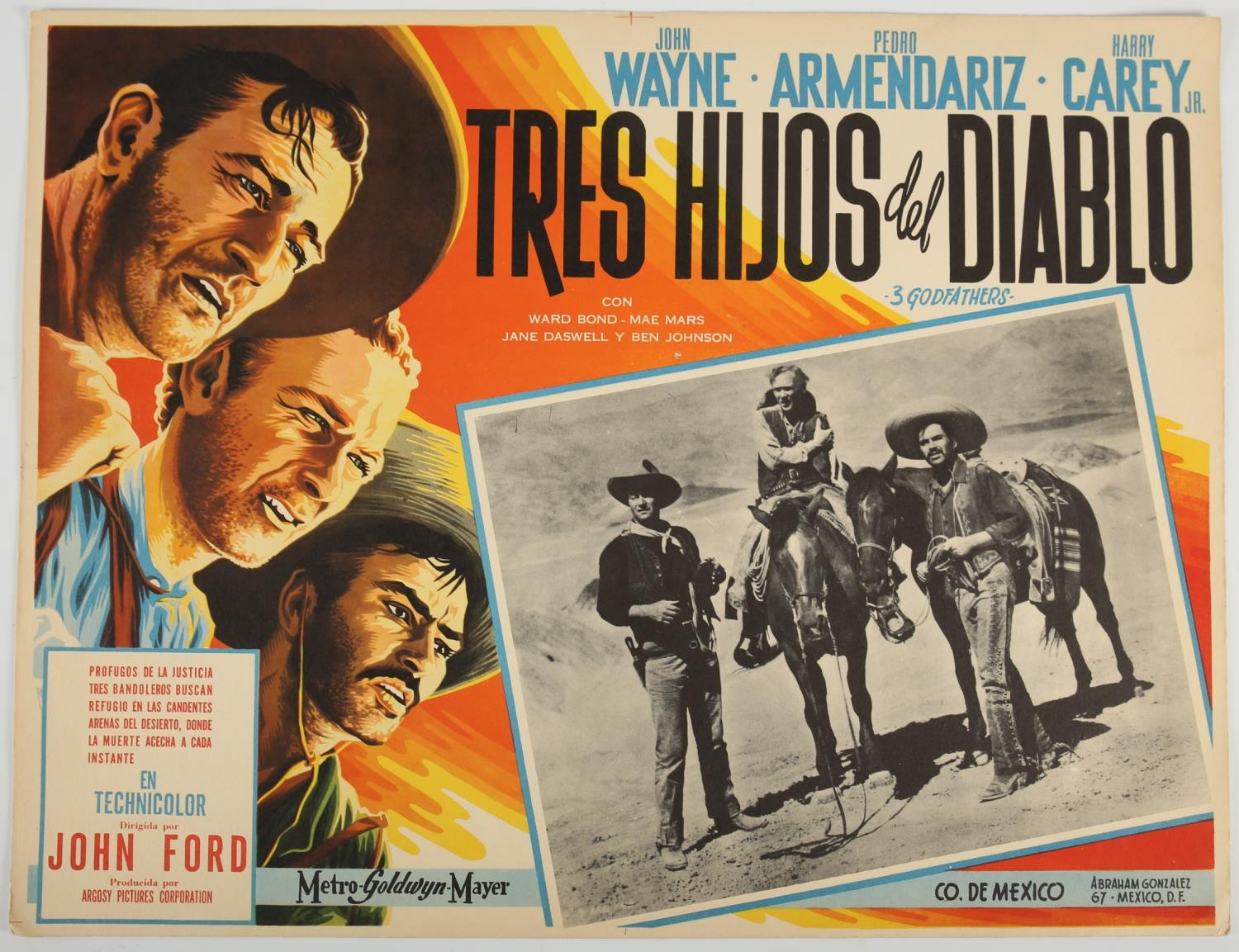 A collection of three 1950's Spanish language lobby cards. Tres Hijos Del Diablo (3 Godfathers),