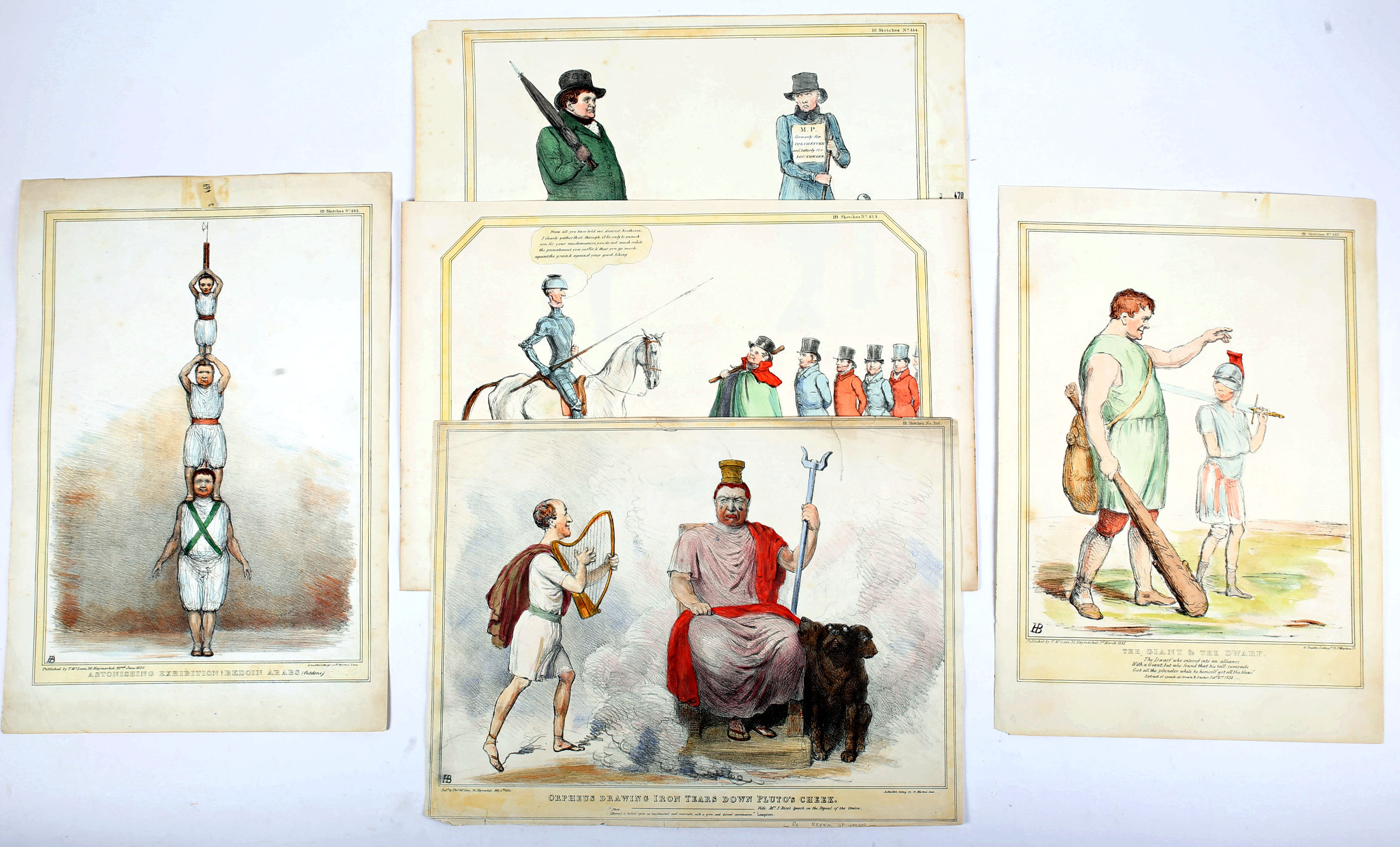 1834-36 Daniel O'Connell, five cartoons featuring the Liberator. Includes O'Connell as a Bedoin Arab - Image 2 of 2