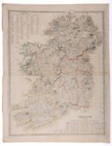 Maps of Ireland. 1844 Map of Ireland showing the Round Towers of Ireland, a hand-coloured engraved