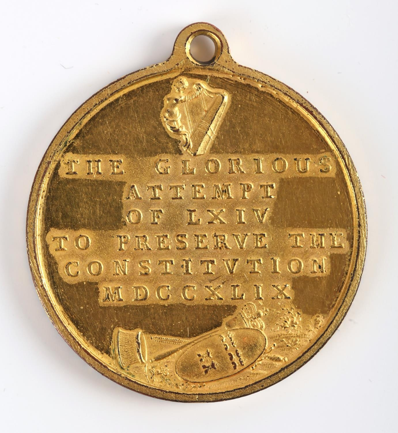 Dublin, The Corporation of Dublin and Dr Charles Lucas, 1749, a gilt medal by T. Pingo, Justice - Image 2 of 2