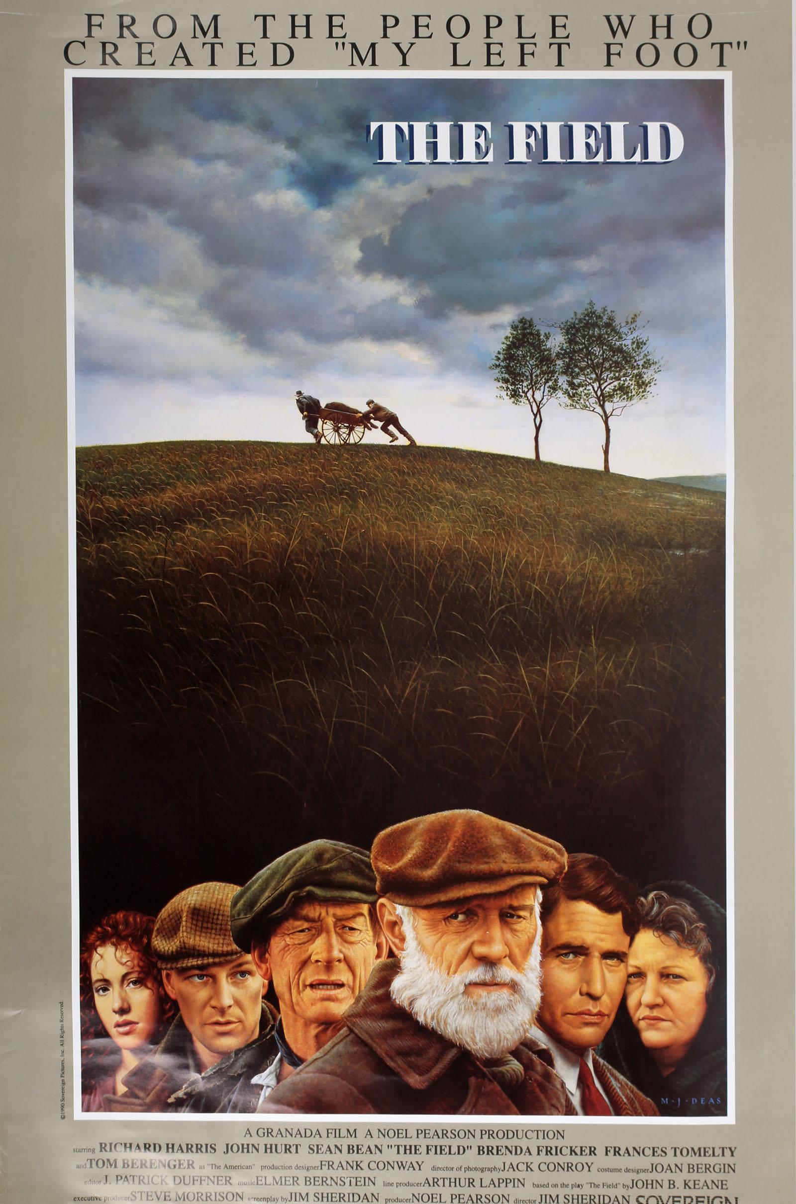 Cinema poster. The Field, 1990, Richard Harris, John Hurt, Tom Berringer, Brenda Fricker; UK one