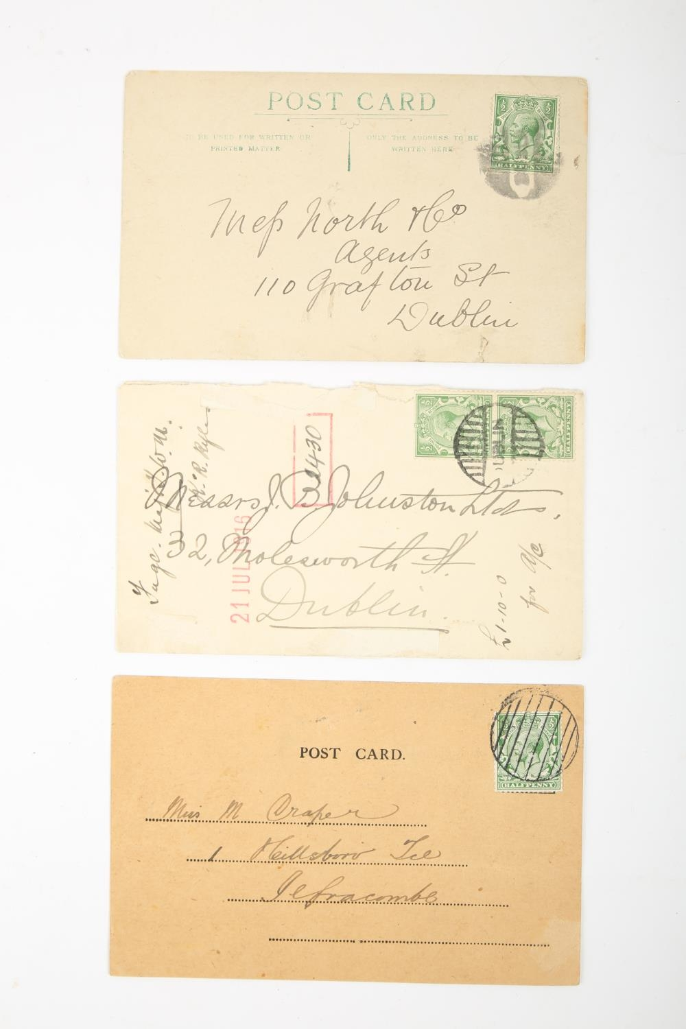 1916 Postal History, three Dublin Emergency Cancels, a postcard addressed to Ilfracombe with