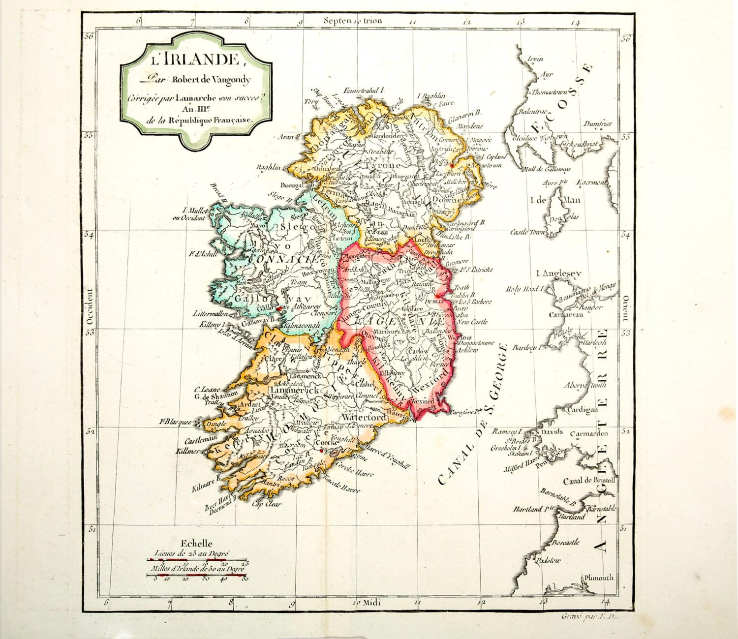 1744-1860s Maps of Ireland, Dublin and Wicklow. A hand-coloured engraved map, Nieuwe Kaart van - Image 2 of 4