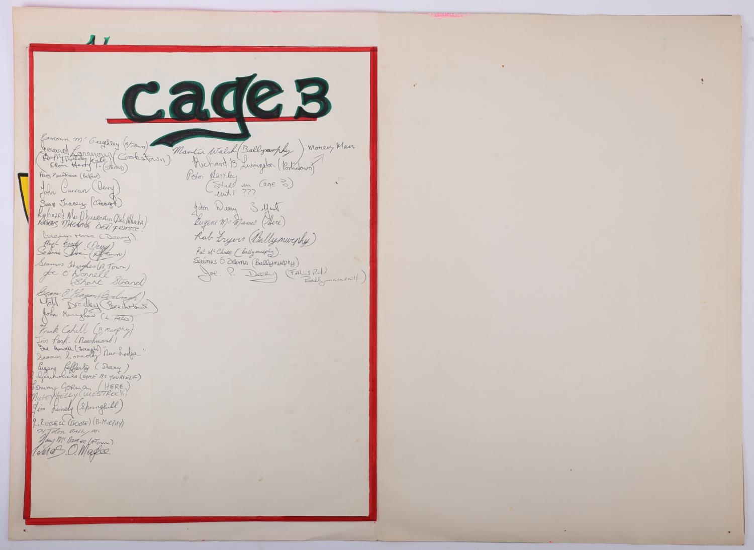 1975 Long Kesh, prisoner art, birthday card to a prisoner's wife, signed by 170 prisoners. A giant - Image 5 of 6