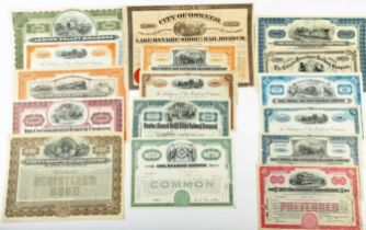 Scripophily, a collection of 52 early 20th century American Railway stock Certificates,