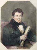 Daniel O'Connell, cartoons and portrait engravings. A hand-coloured engraved portrait of Daniel O'