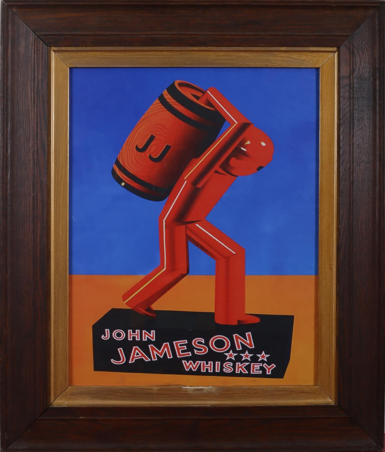 1950s John Jameson whiskey advertising poster, a stylised figure carrying a cask of Jameson whiskey,