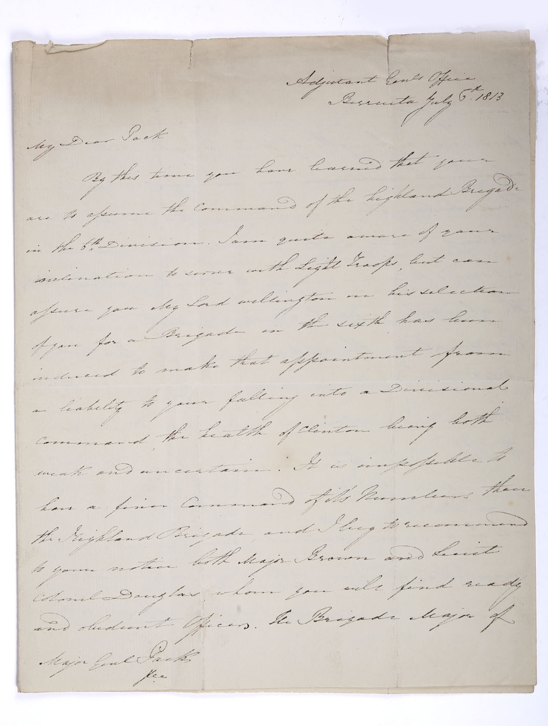 Sir Edward Michael Packenham (1778-1815) Irish soldier and politician, holograph four-page letter, 6