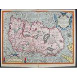 1573 Map of Ireland by Ortelius. A hand-coloured, engraved map, Eyrn Hiberniae, Britannicae, Insulae