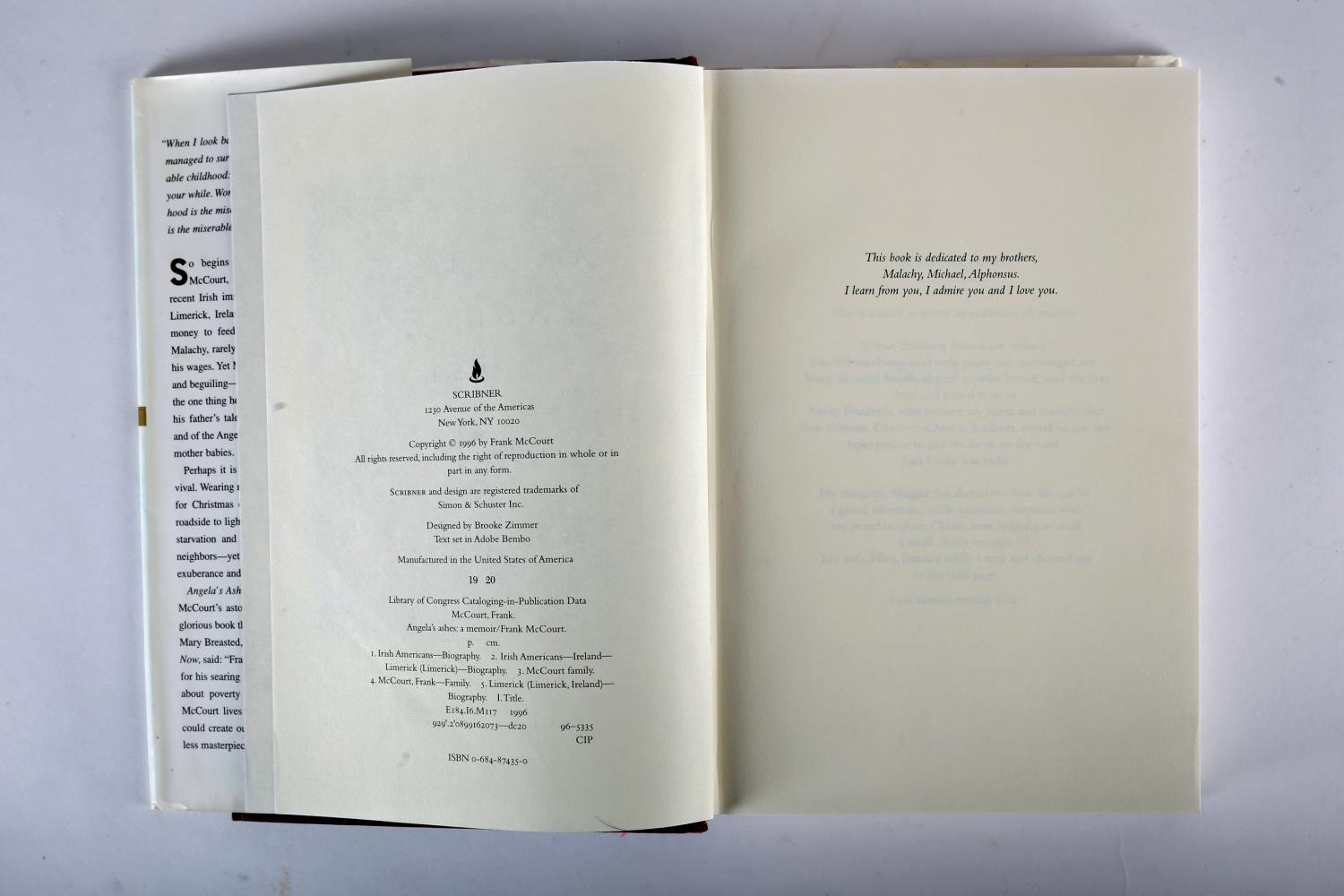 McCourt, Frank. Angela's Ashes. Scribner, New York. 1996, first edition, 8vo. red cloth gilt and - Image 2 of 4