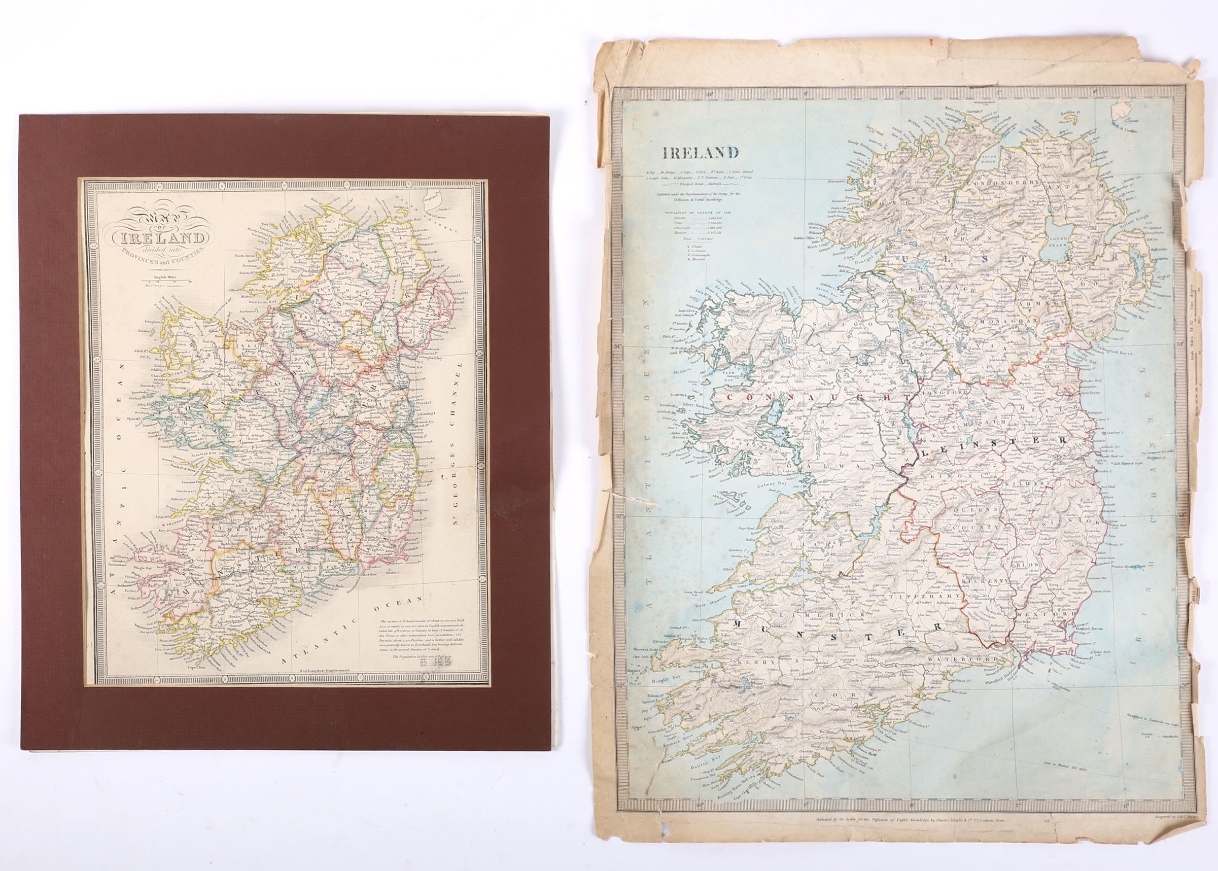 Maps of Ireland. 1844 Map of Ireland showing the Round Towers of Ireland, a hand-coloured engraved - Image 2 of 2