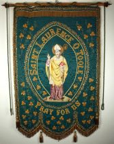 A 19th century processional banner venerating St. Laurence O'Toole, the patron saint of Dublin. A