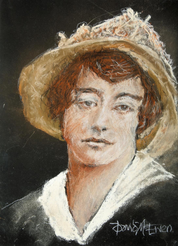 "David McEwen, Irish. Grace Plunkett. Pastel on card, 12½"" x 9½"" (32 x 24cm) Signed."