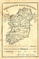 1845 Loyal National Repeal Association of Ireland, membership certificate. A printed membership card