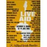 1985 Live Aid poster signed by Bob Geldof, published by Allied Irish Banks [AIB], the yellow