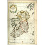 1750s Chart of Ireland by Jacques Nicolas Bellin. A hand-coloured, engraved chart, Carte Reduite des