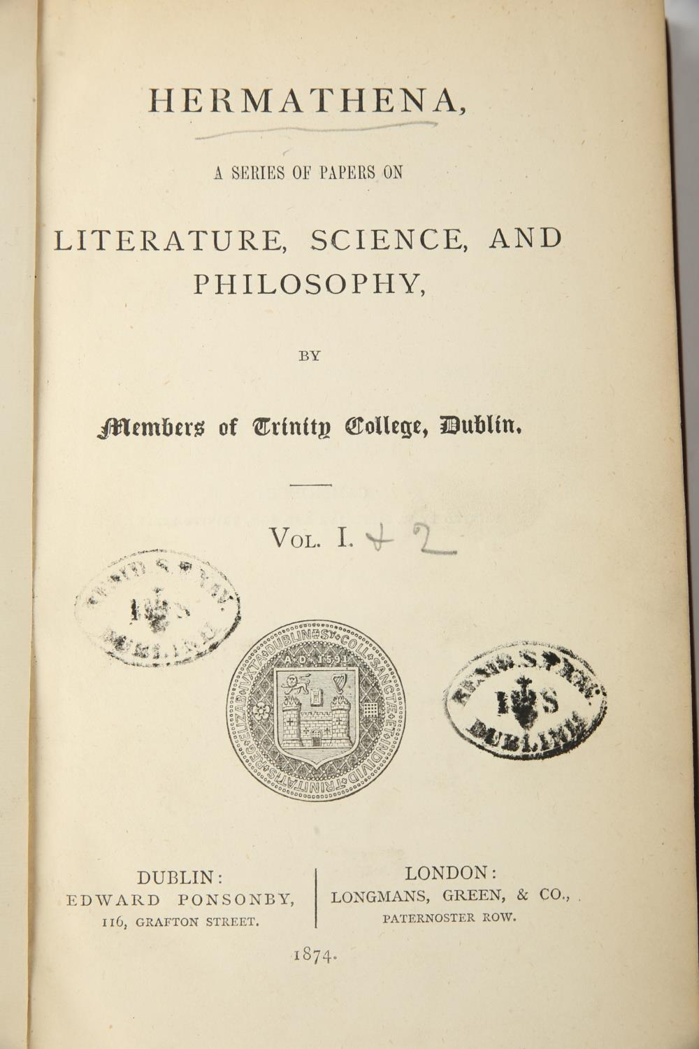 Hermathena 1874 and Annual Register 1798. Members of Trinity College Dublin. Hermathena, a series of - Image 3 of 3