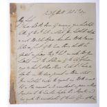Wellington (Arthur Wellesley, Duke of, 1769-1852) Field Marshal and Statesman. Holograph letter (6