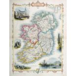 1851 Map of Ireland by John Tallis. A hand-coloured engraved map of Ireland with vignettes of St