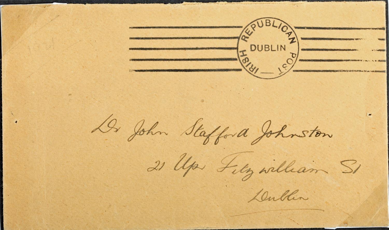 1919 Irish Republican Post envelope addressed to Dr John Stafford Johnston, 21 Upr. Fitzwilliam St.,