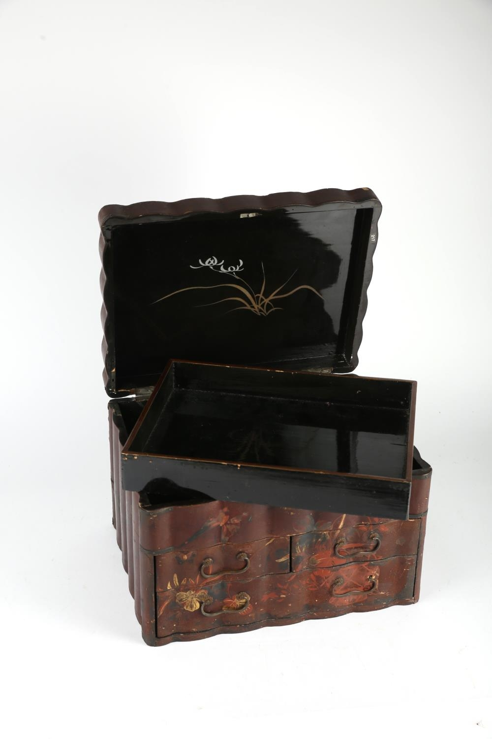 A Meiji Japanese cinnabar lacquer tabletop jewellery chest, the hinged lid decorated with - Image 2 of 3