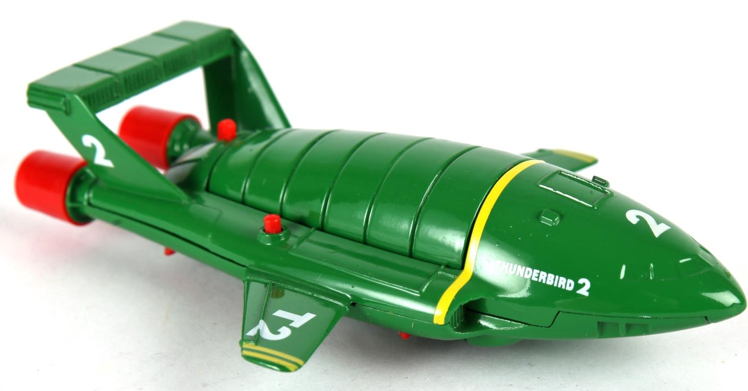Thunderbirds. Matchbox Toys, diecast Thunderbirds T2 and T4, green T2 with retractable legs and