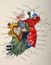 Mid-19th century anthropomorphic manuscript map of Ireland. The island of Ireland depicted as an old