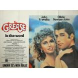 """Cinema poster. Grease, 1978, Paramount, British quad poster with sticker """"Under 12's With Adult"""","""