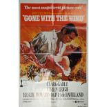 Cinema poster. Gone With the Wind, R-1980, movie poster for the epic drama starring Clark Gable,