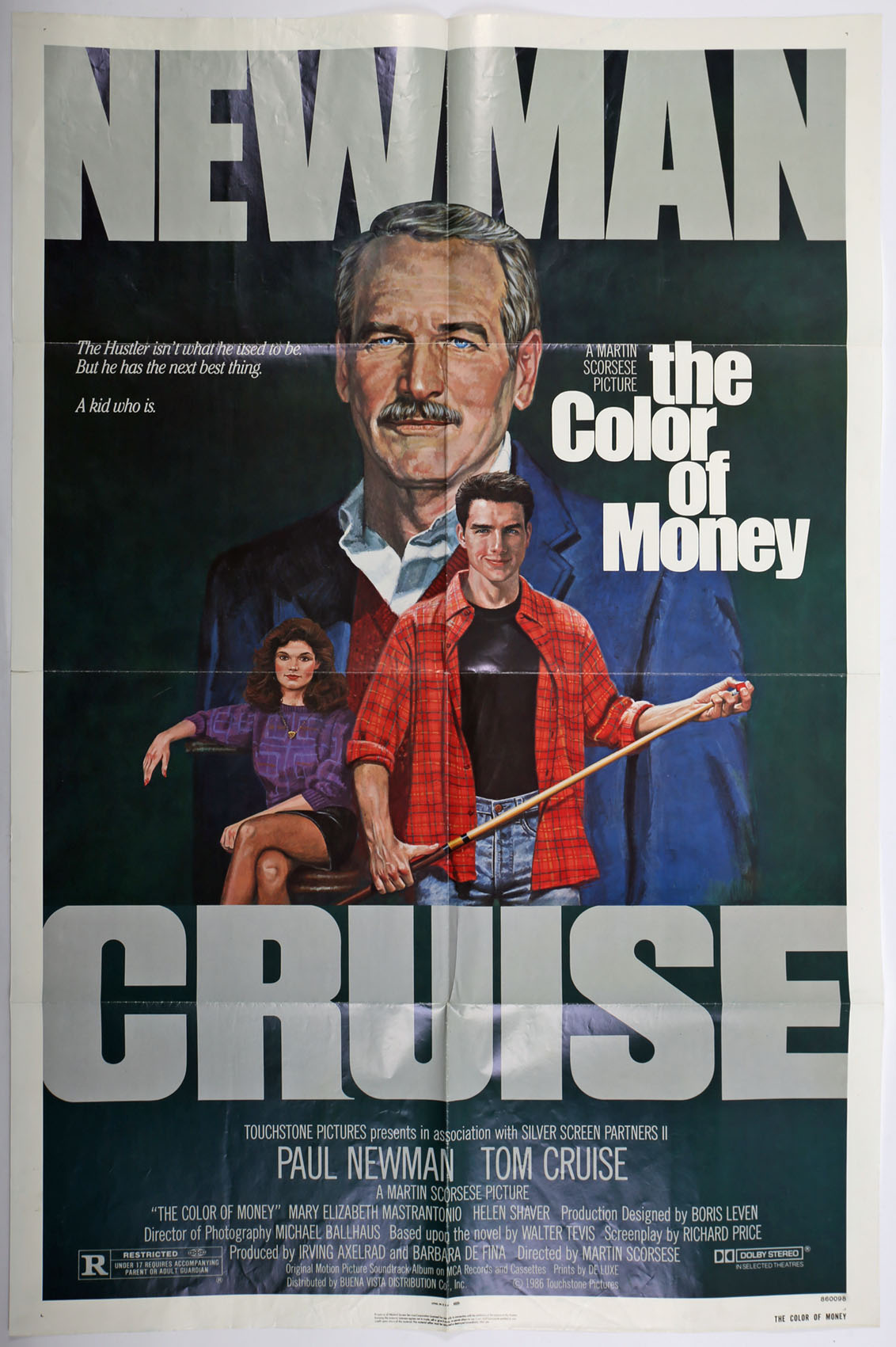 Cinema poster. The Color of Money, 1986, US one-sheet poster for the drama starring Paul Newman, Tom