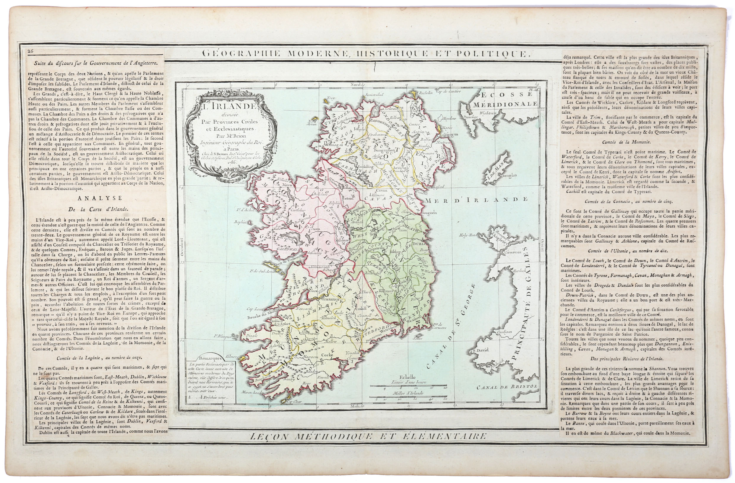 Maps of Ireland. 1744 Map of Ireland by Richard William Seale, Map of the Kingdom of Ireland From - Image 2 of 3