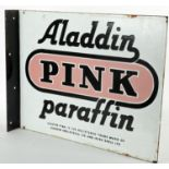 Aladdin Pink Paraffin enamel advertising sign by Irish Shell Ltd., an enamel two sided sign with