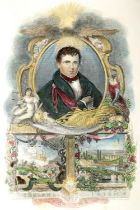 Prints of Victorian Ireland. A hand-coloured engraved portrait of Daniel O'Connell surrounded by