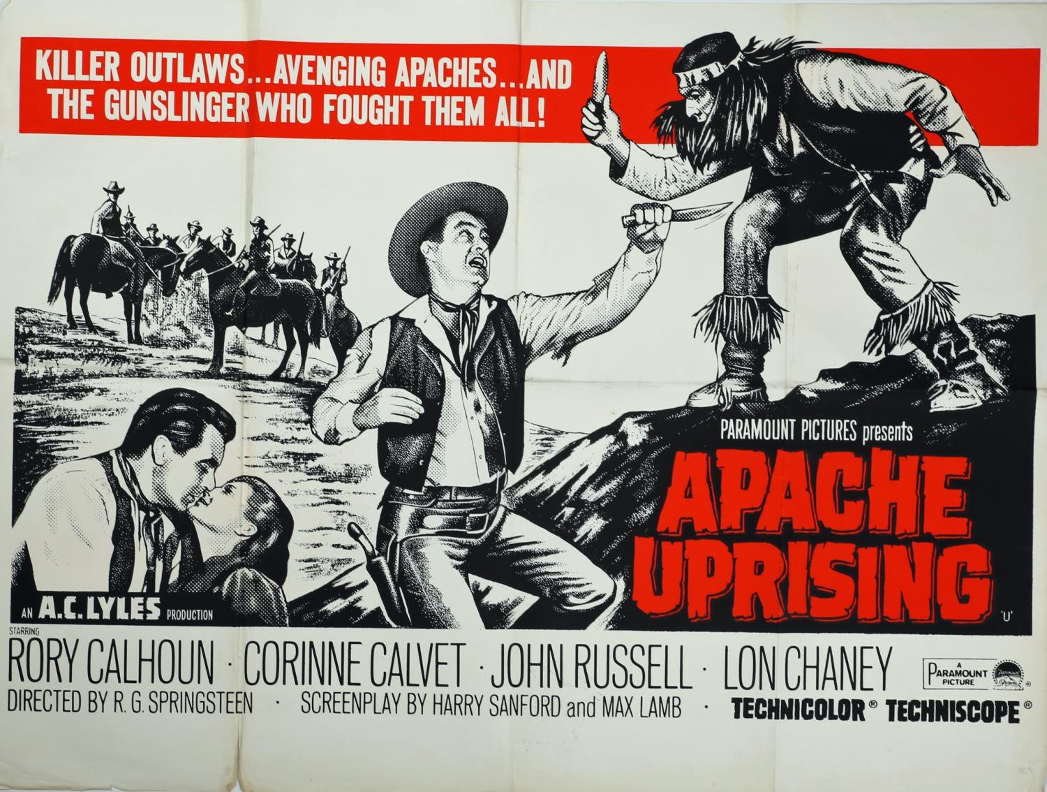 A collection of seven cinema posters for Western films, Haunted Gold, R-1956, (US one sheet); Chisum - Image 2 of 7