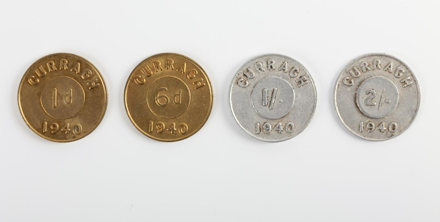 Complete set of four 1940 Curragh Prisoner of War Camp Tokens. Comprising of penny, sixpence, one