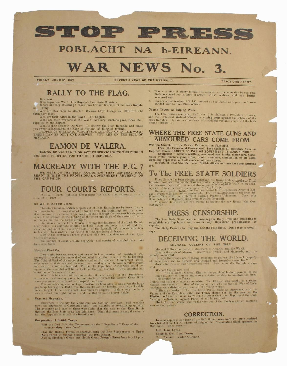 1922 (30 June) Poblacht Na hÉireann STOP PRESS WAR NEWS No. 3 Broadsheet. Printed in the Four Courts
