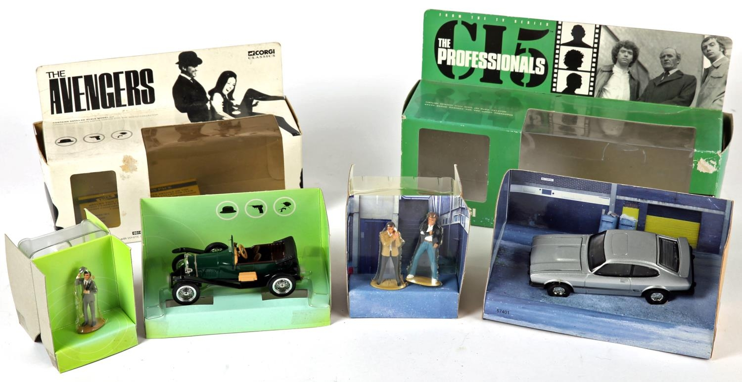 The Professionals, Ford Capri and The Avengers, Steed's Bently. Corgi Toys 5740, silver Ford Capri