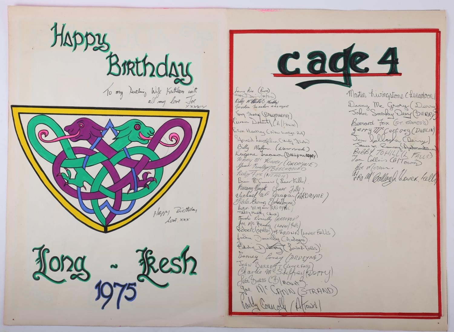 1975 Long Kesh, prisoner art, birthday card to a prisoner's wife, signed by 170 prisoners. A giant - Image 2 of 6