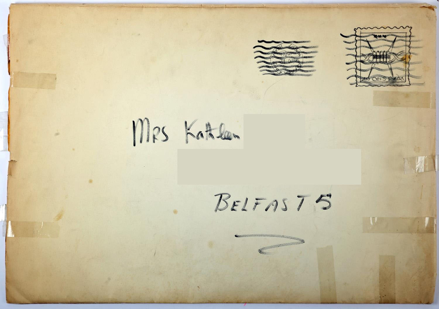 1975 Long Kesh, prisoner art, birthday card to a prisoner's wife, signed by 170 prisoners. A giant - Image 6 of 6