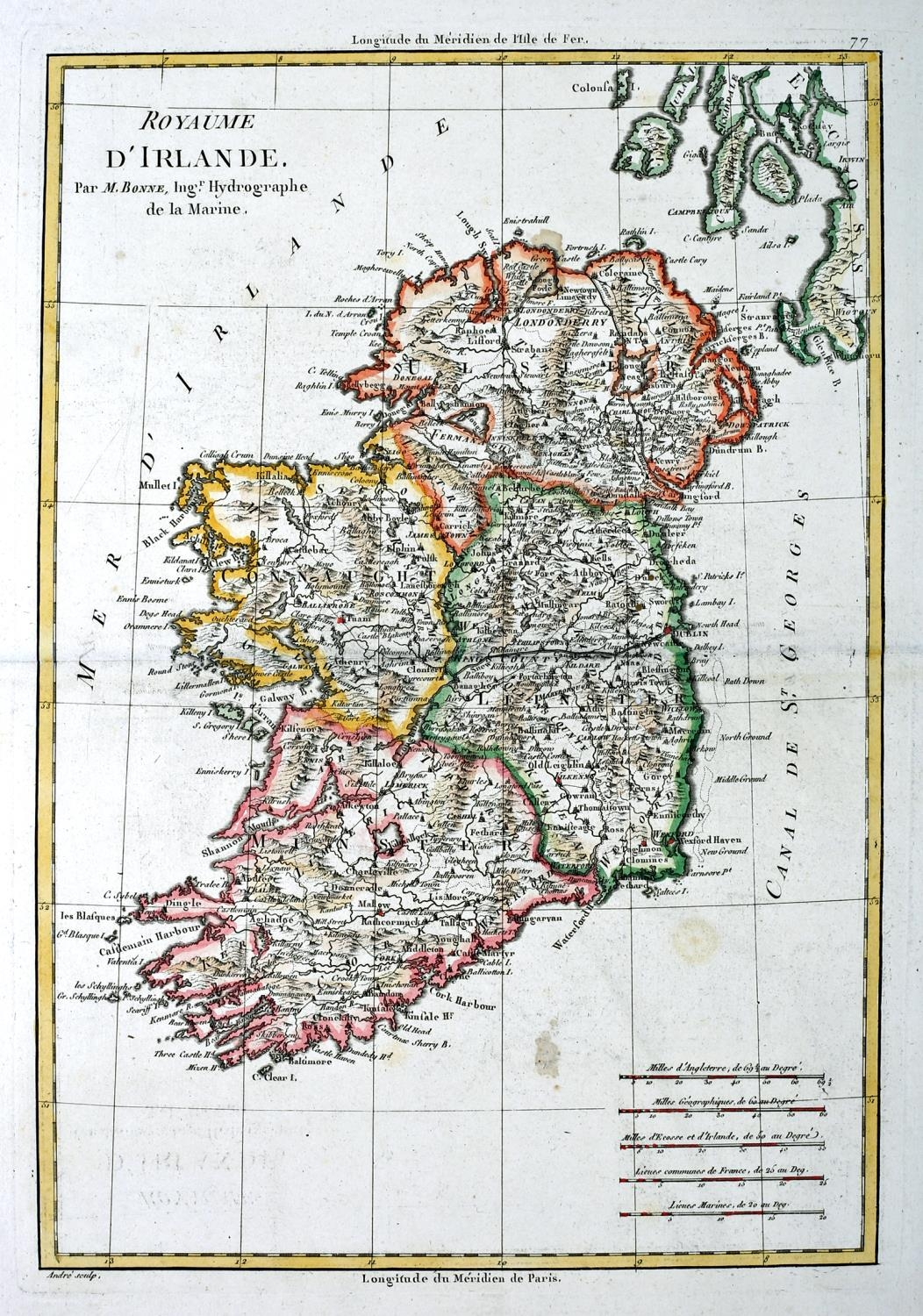 """1766 Map of Ireland by Rigobert Bonne. A hand-coloured, engraved map Royaume D'Irlande, 14"""" x 9½"""" ("""
