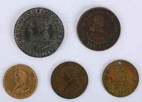 """Wolfe Tone, O?Connell and Parnell medals. a collection of five medals, Theobald Wolfe Tone, """"Who"""