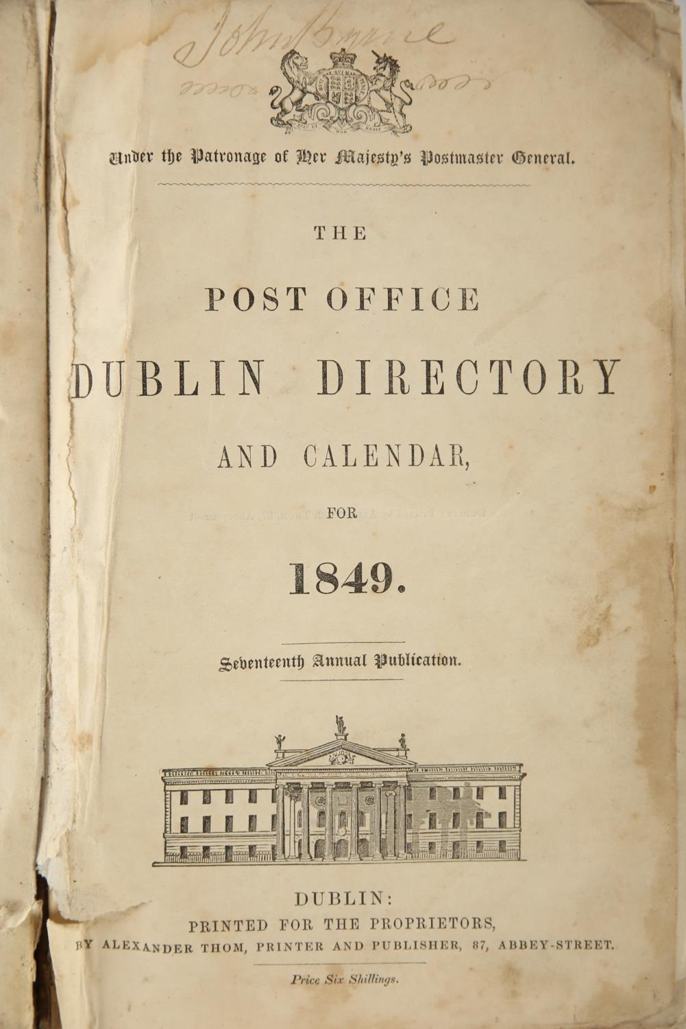 1849 Thom's Directory. Post Office Directory and Calendar 1849. Alex Thom & Co, Dublin, 8vo, xvi, - Image 2 of 3