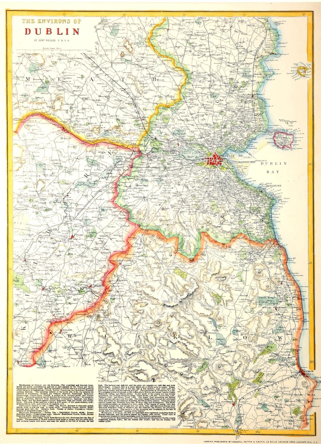 1744-1860s Maps of Ireland, Dublin and Wicklow. A hand-coloured engraved map, Nieuwe Kaart van - Image 3 of 4
