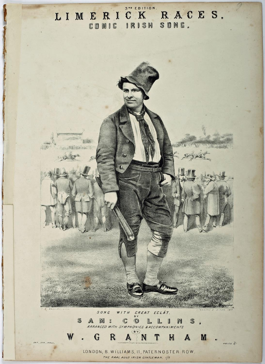 """Song Sheet, 19th century, """"Limerick Races"""", """"Sung with great Eclat by Sam Collins"""", lithograph"""